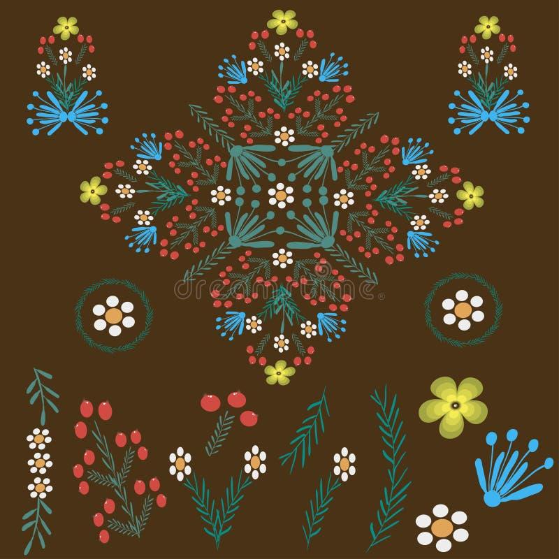 Флористический фольклорный орнамент на коричневом цвете иллюстрация вектора
