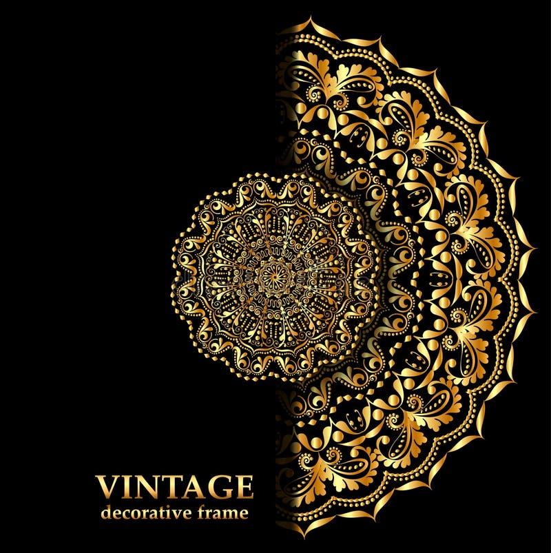 Флористический шаблон дизайна брошюры и летчика стиля Творческие элементы искусства и орнамент, постраничные макеты, золото, черн иллюстрация вектора