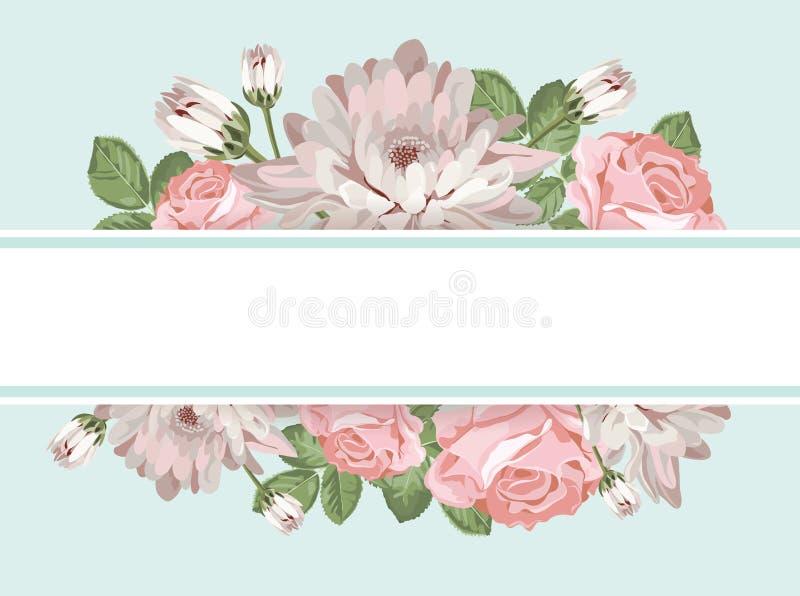 Флористический шаблон карточки с пустой рамкой бесплатная иллюстрация