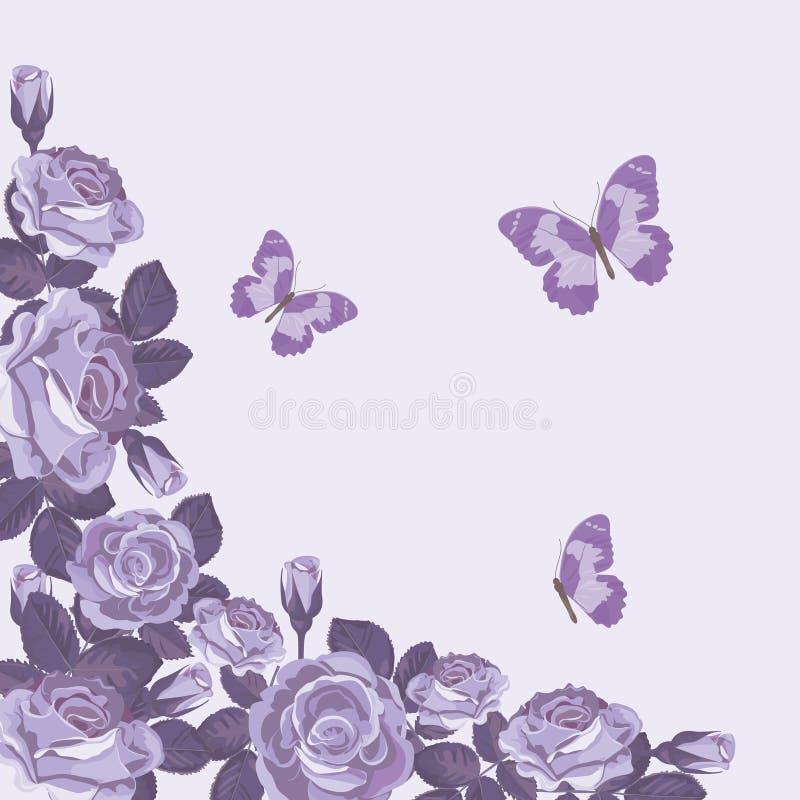 Флористический шаблон карточки с фиолетовыми розами и бабочками вектор весны иллюстрации предпосылки красивейший бесплатная иллюстрация