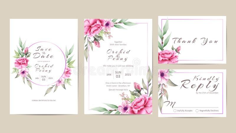 Флористический шаблон приглашения свадьбы установил цветков акварели иллюстрация штока