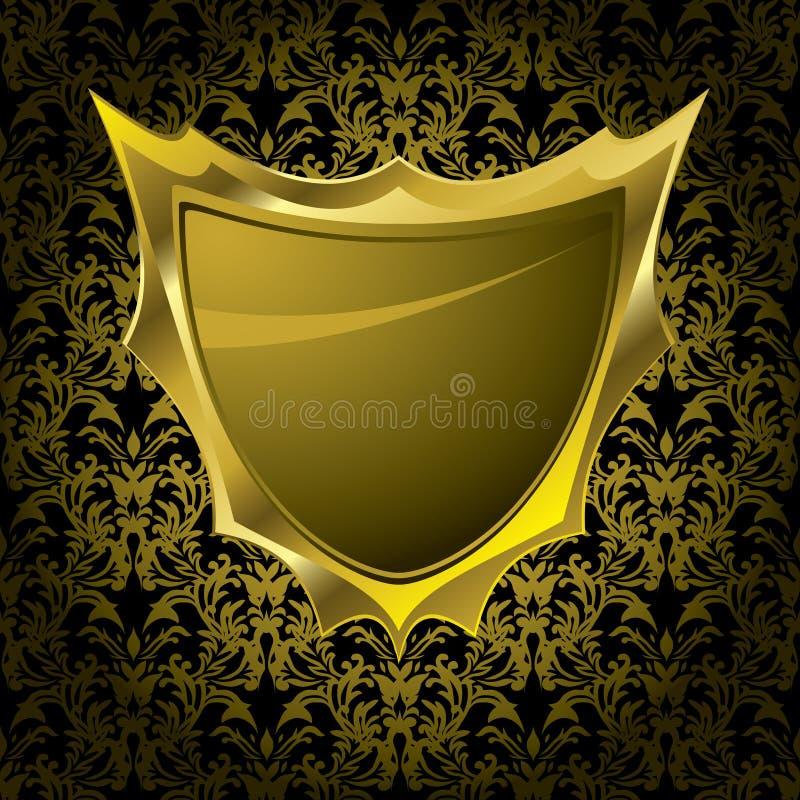 флористический экран золота иллюстрация вектора