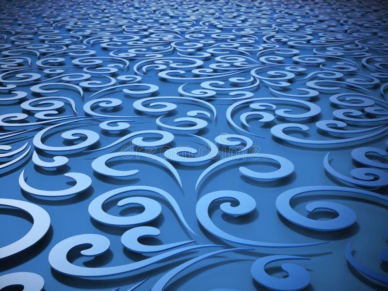 флористическое абстрактной предпосылки голубое иллюстрация 3d иллюстрация штока