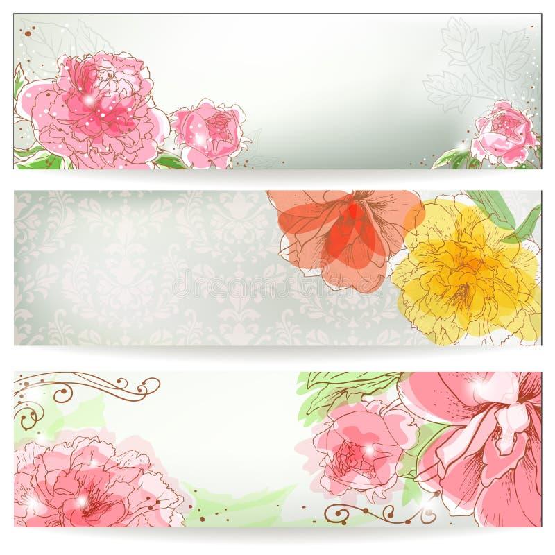 Флористическое знамя иллюстрация штока