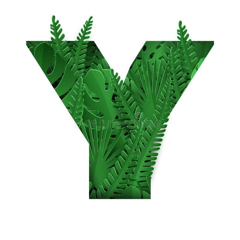 Флористическое письмо j лета Красочное письмо с тропическими листьями иллюстрация штока