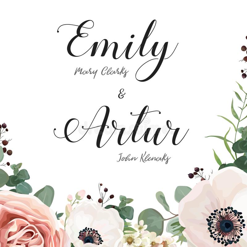 Флористическое приглашение свадьбы элегантное приглашает дизайн вектора карточки: gar бесплатная иллюстрация