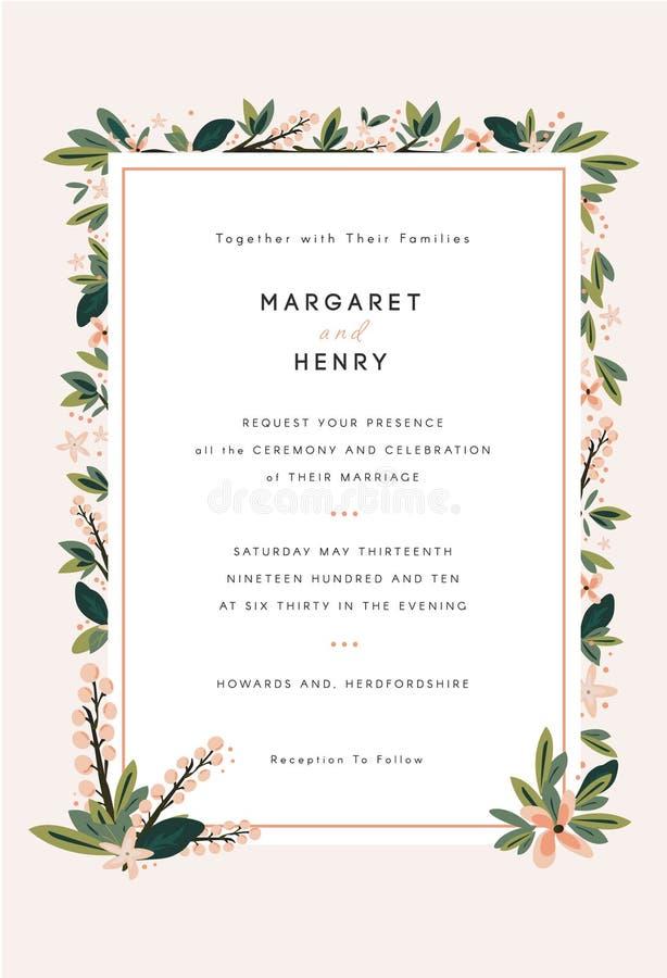 Флористическое приглашение свадьбы иллюстрация штока