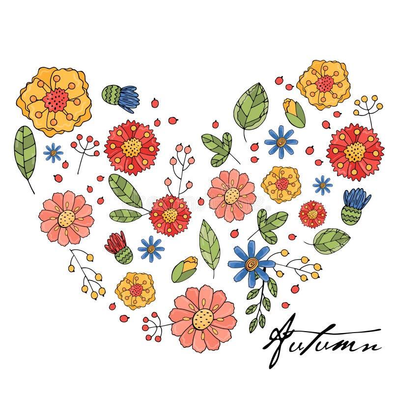 Флористическое сердце с изолированными цветками, травами и листьями бесплатная иллюстрация