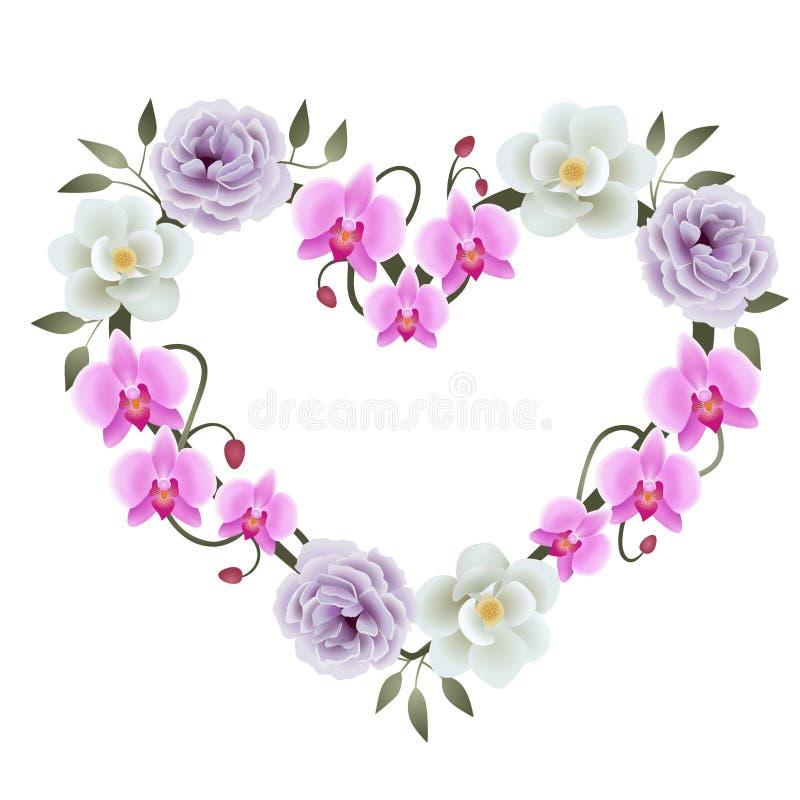 Флористическое украшение рамки сердца с вектором магнолий, пионов и орхидей иллюстрация штока