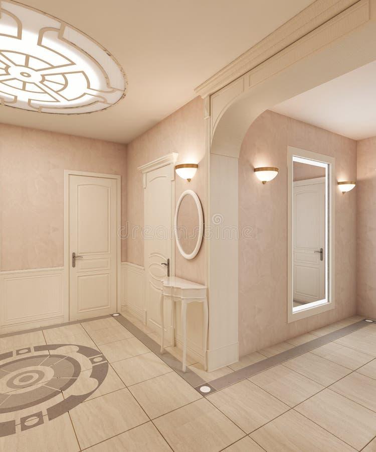 Фойе в классическом стиле, с мраморным полом и бежевыми деревянными квадратами на стенах Встроенное потолочное освещение иллюстрация вектора