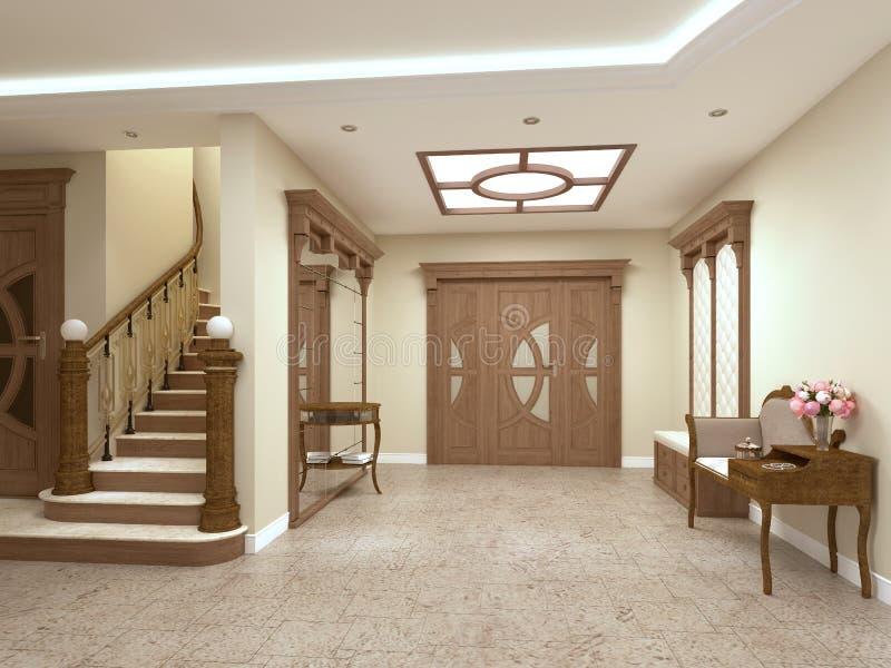 Фойе в роскошном доме в классическом стиле с лестницей иллюстрация штока
