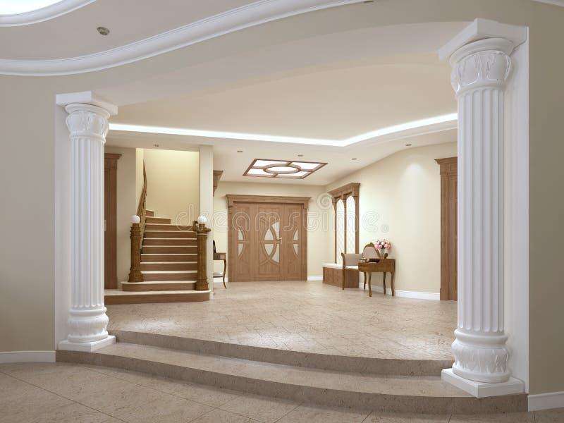Фойе в роскошном доме в классическом стиле с лестницей бесплатная иллюстрация