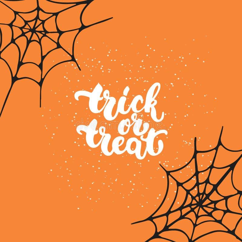Фокус или обслуживание - нарисованная рука партии хеллоуина помечающ буквами карточку фразы Поздравительная открытка оформления ч иллюстрация штока
