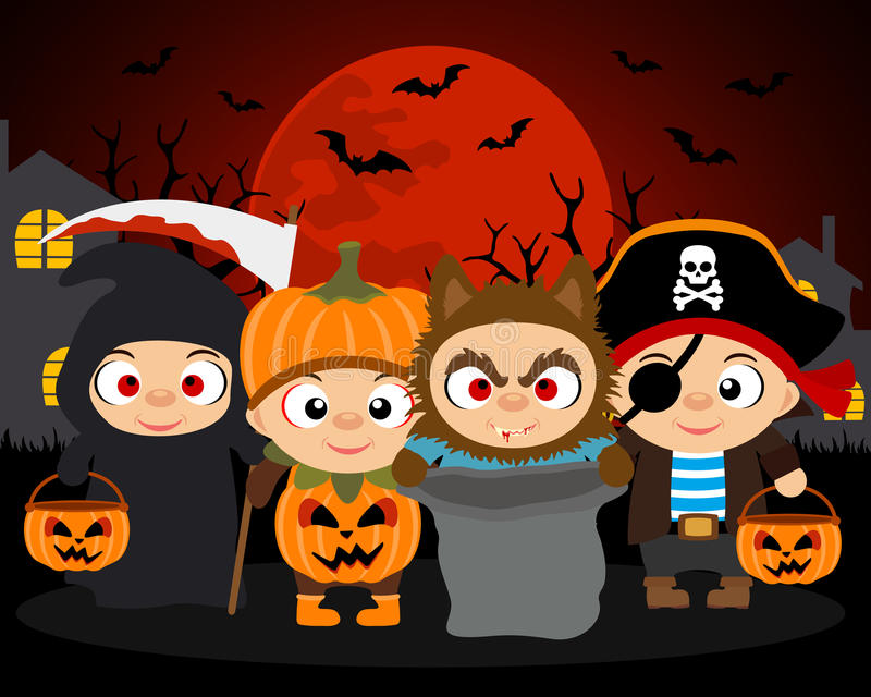 Фокус или обслуживание, предпосылка вектора хеллоуина с детьми бесплатная иллюстрация