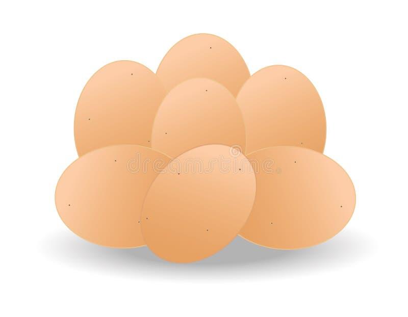 фокус 2 коричневых яичек первый иллюстрация вектора