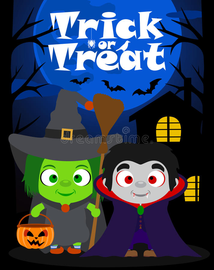 Фокус предпосылки хеллоуина или обрабатывать с детьми, вектором бесплатная иллюстрация