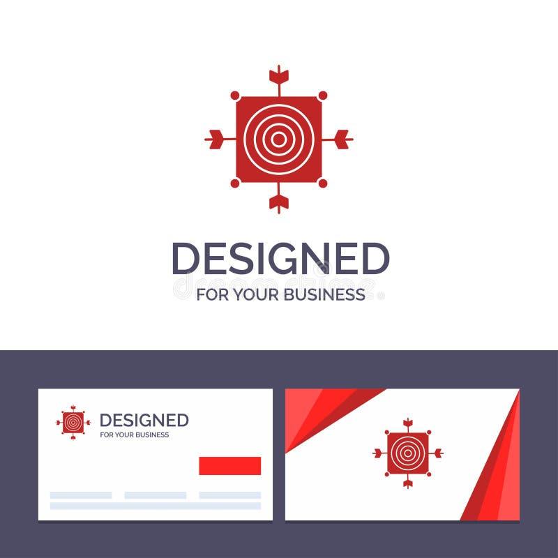 Фокус творческого шаблона визитной карточки и логотипа, доска, дротик, стрелка, иллюстрация вектора цели иллюстрация штока