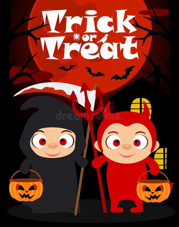 Фокус хеллоуина или обрабатывая предпосылка с детьми иллюстрация вектора