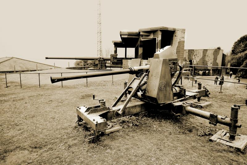Фолмут, Корнуолл, Великобритания - 12-ое апреля 2018: Старая Вторая мировая война WW2 стоковое фото rf