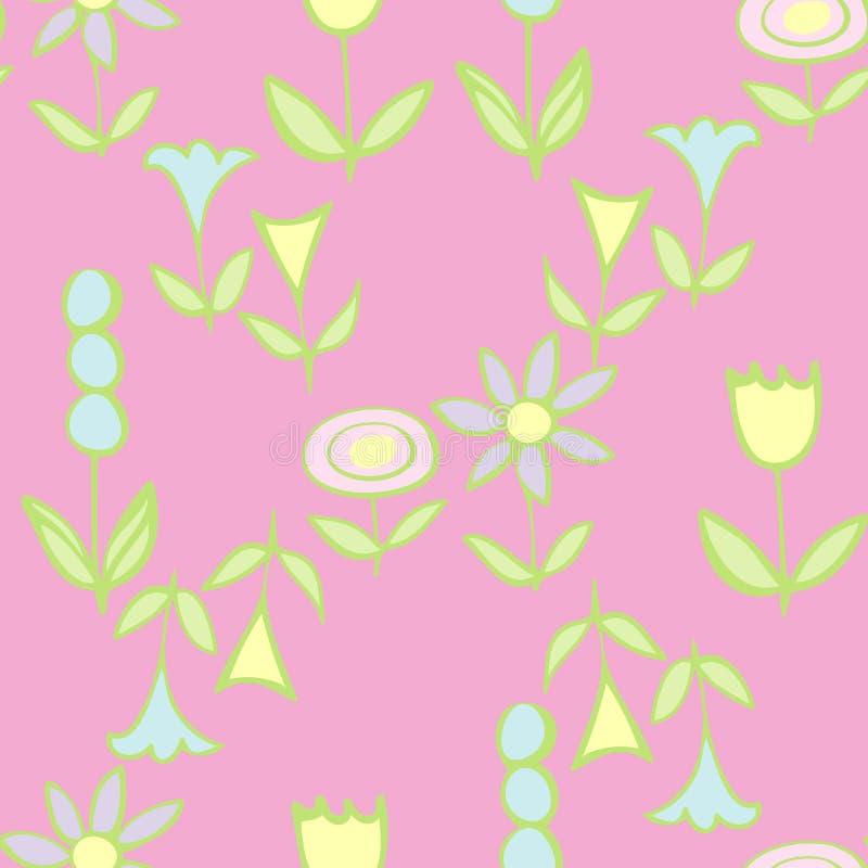Фольки-цветы на Pink Repeat Pattern иллюстрация штока