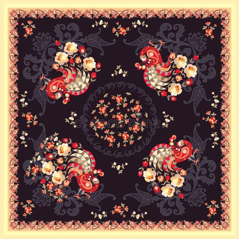 Фольклорная шаль с павлином феи, цветками сада и Пейсли на темной предпосылке в русском стиле бесплатная иллюстрация