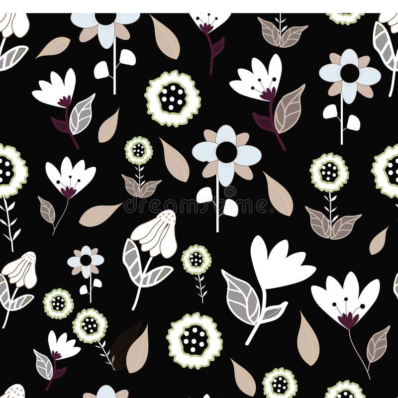Фольклорные коричневые голубые и белые цветки на повторении черной предпосылки seameless бесплатная иллюстрация