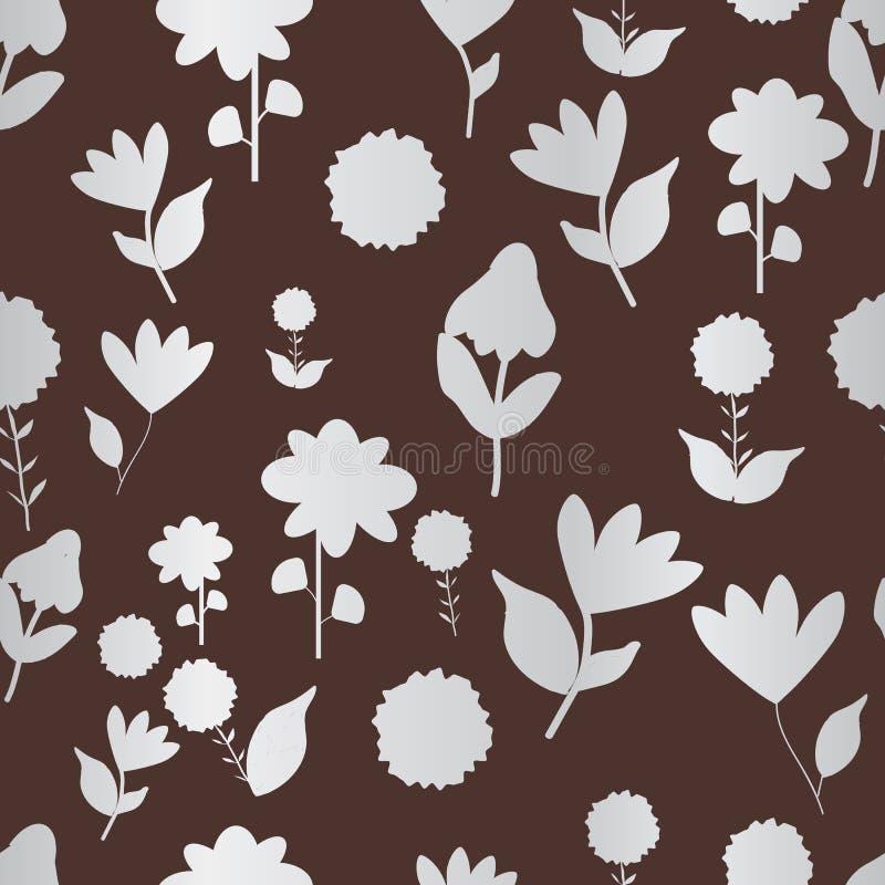 Фольклорные серебряные цветки на повторении коричневой предпосылки seameless иллюстрация вектора