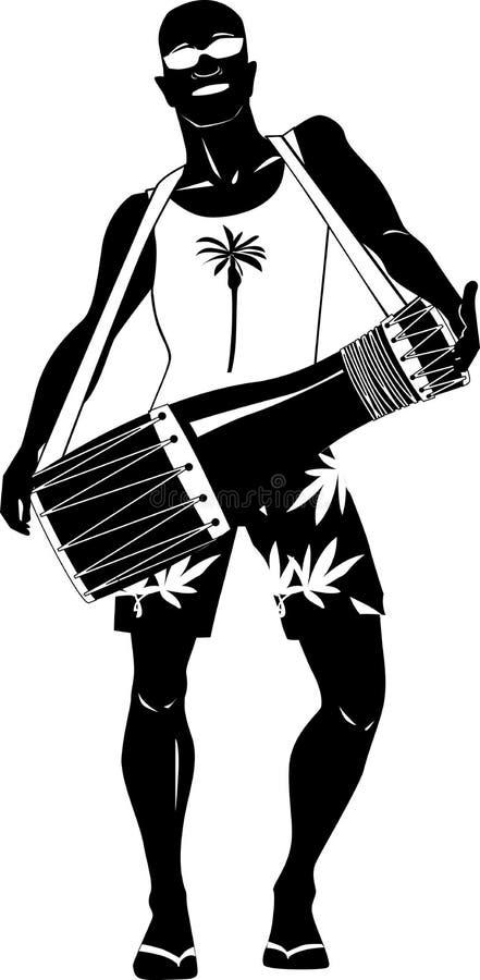 Фольклорный игрок барабанчика иллюстрация вектора