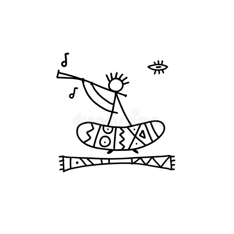 Фольклорный этнический танец для вашего дизайна иллюстрация штока
