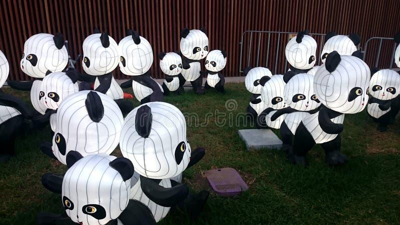 Фонарики панды - китайский фестиваль фонарика Нового Года стоковое фото rf