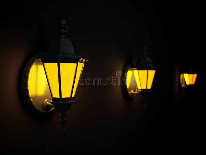 фонарики посветили улице стоковая фотография rf