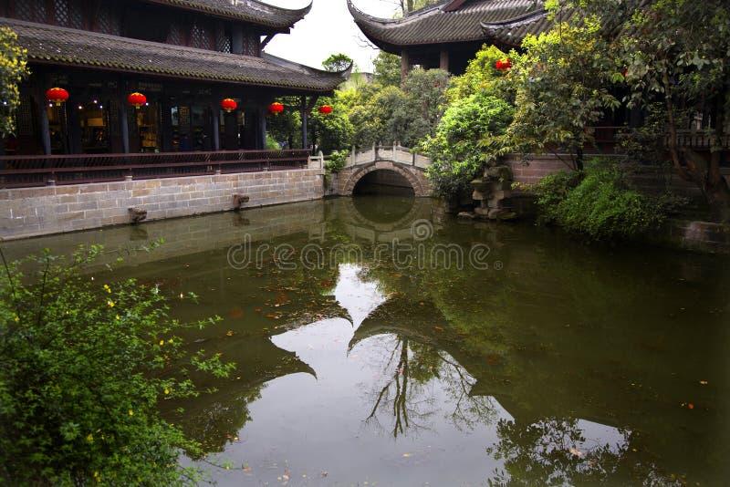 фонарики фарфора pond красный висок sichuan отражения стоковое фото rf