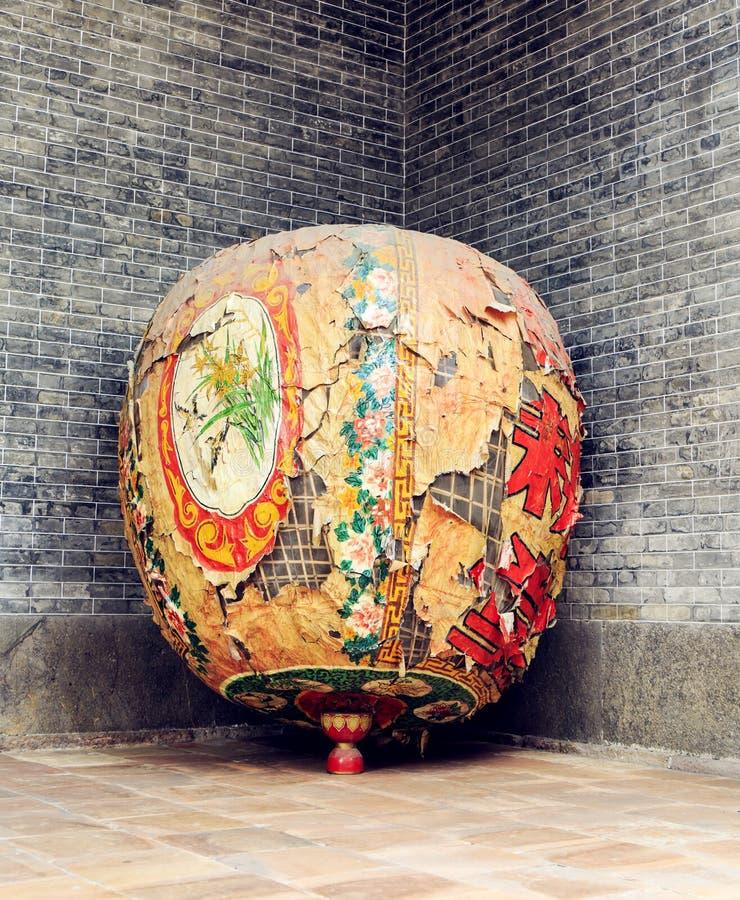 Фонарик Азии китайский старый затрапезный с дизайном и картиной восточного традиционного классического стиля стоковое фото