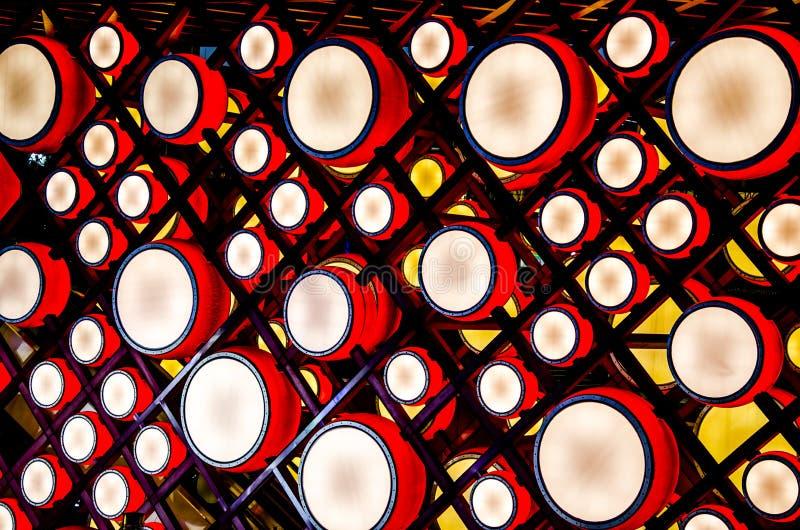 Фонарик красного барабанчика на ноче, Пекине стоковые фото