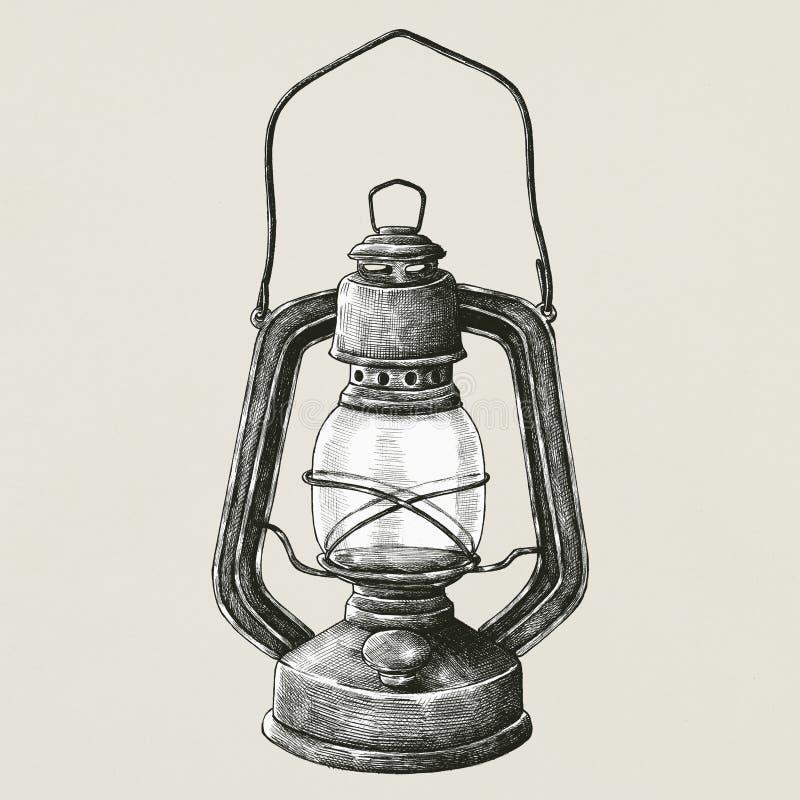 Фонарик нарисованный рукой ретро портативный иллюстрация вектора