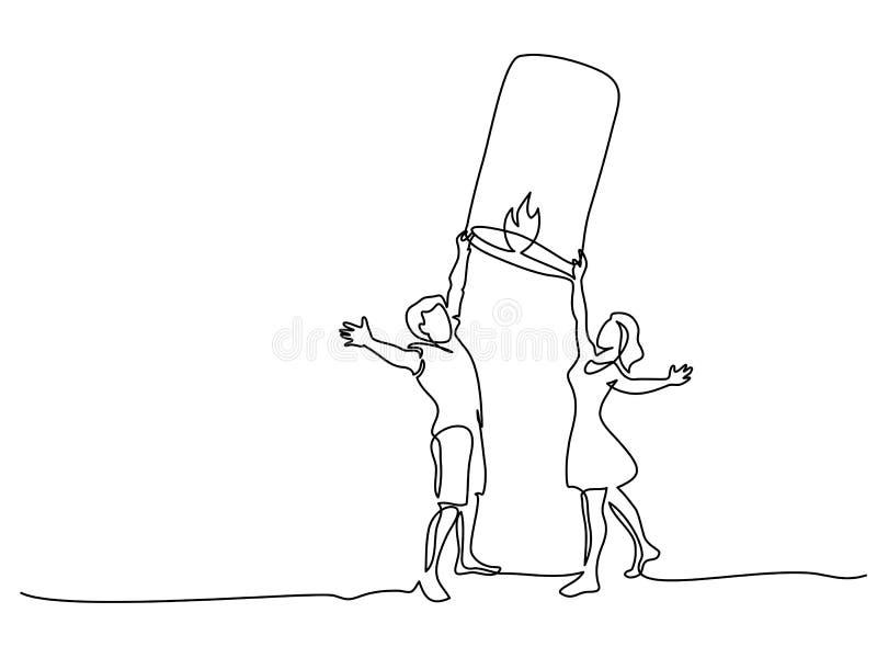 Фонарик неба счастливых молодых пар запуская бумажный бесплатная иллюстрация
