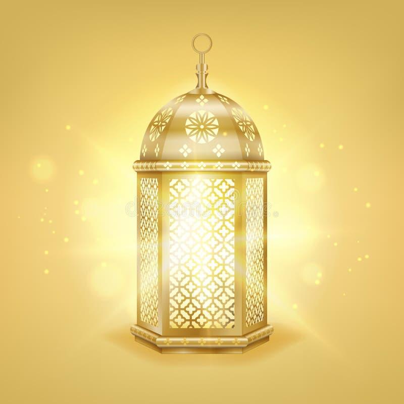 Фонарик одиночного реалистического золота арабский - сияющий фонарик металла года сбора винограда золота с арабской картиной, илл иллюстрация вектора