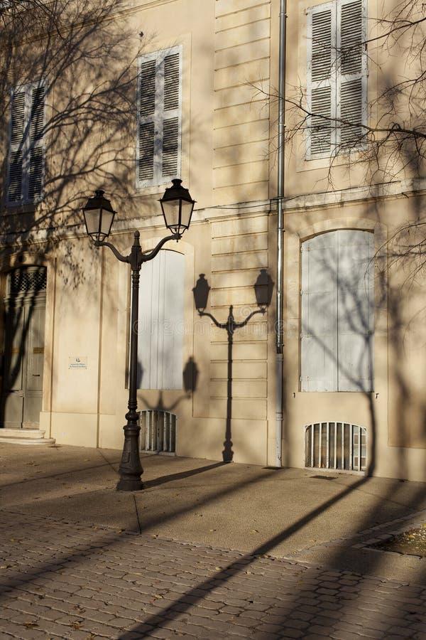 Фонарные столбы и деревья стоковое фото rf