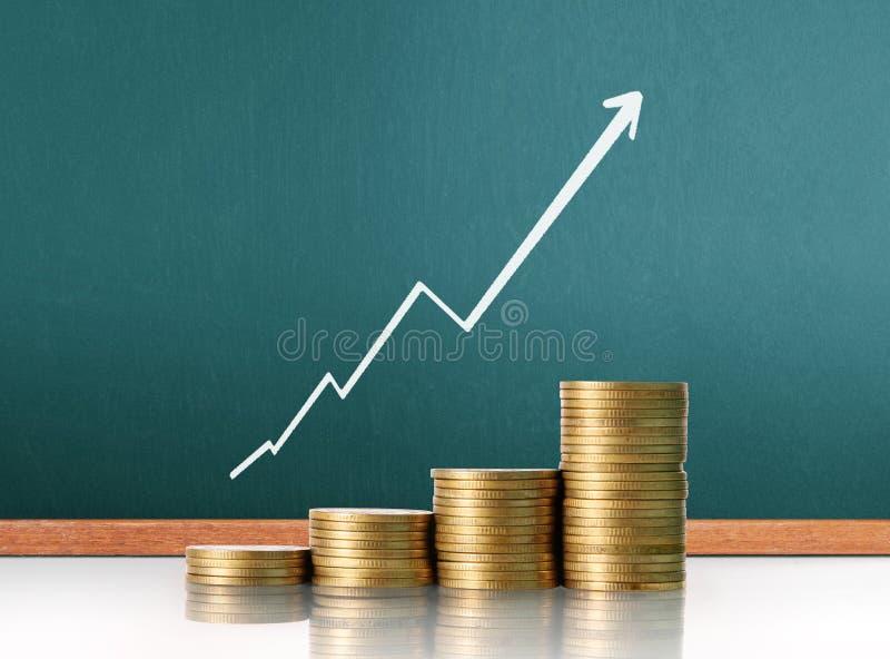 Фондовая биржа диаграммы монеток стоковая фотография