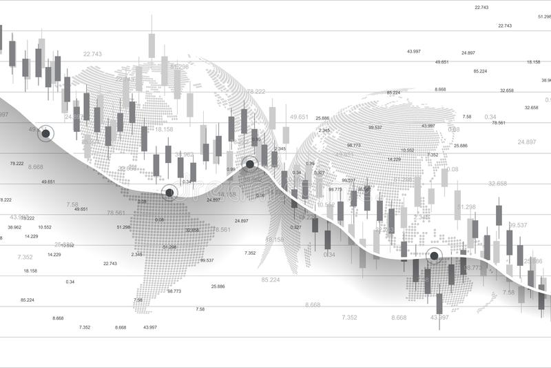 Фондовая биржа и обмен Диаграмма диаграммы ручки свечи дела торговой операции вклада фондовой биржи Данные по фондовой биржи иллюстрация штока