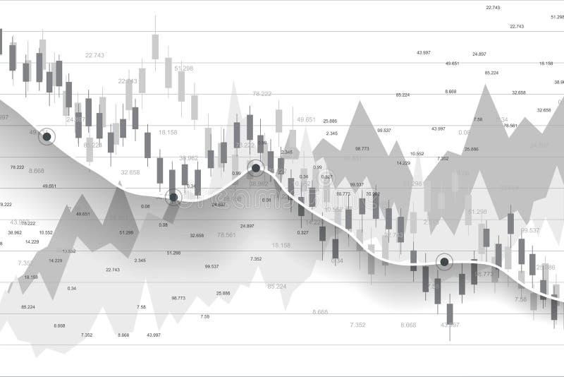Фондовая биржа и обмен Диаграмма диаграммы ручки свечи дела торговой операции вклада фондовой биржи Данные по фондовой биржи иллюстрация вектора