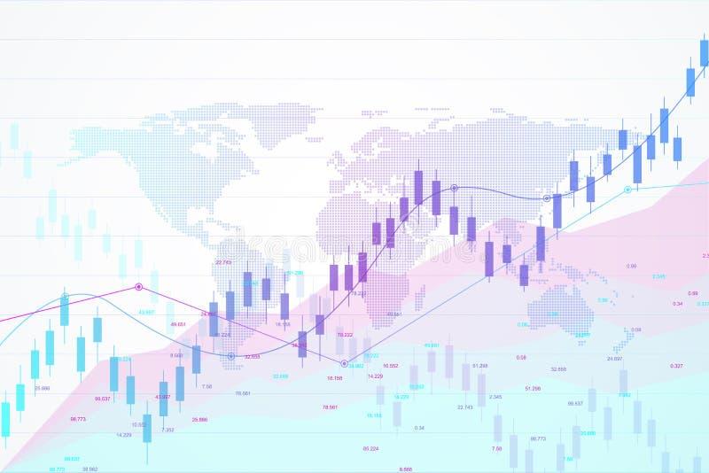 Фондовая биржа и обмен Миражируйте диаграмму диаграммы ручки торговой операции вклада фондовой биржи Данные по фондовой биржи Быч иллюстрация штока
