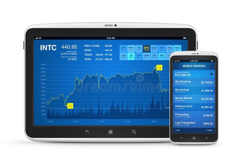 Фондовая биржа и передвижной банк на цифровых приборах иллюстрация вектора