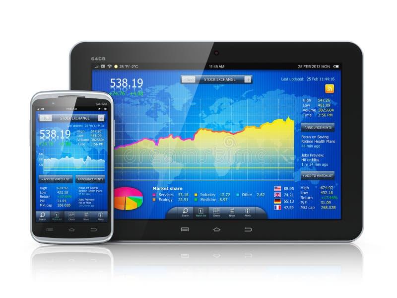 Фондовая биржа на мобильных устройствах иллюстрация вектора