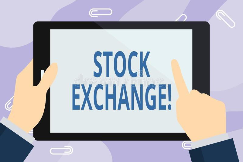Фондовая биржа сочинительства текста почерка Концепция знача место где показывающ, что купило и продало запасы - и - доли иллюстрация вектора