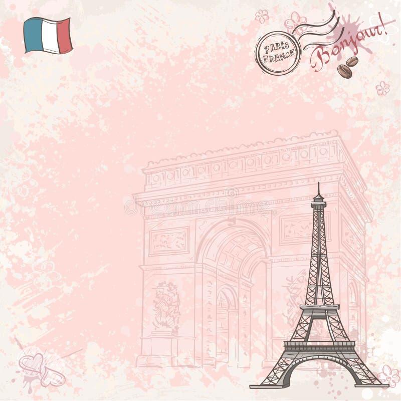 Фоновое изображение на Франции с Эйфелевой башней иллюстрация вектора