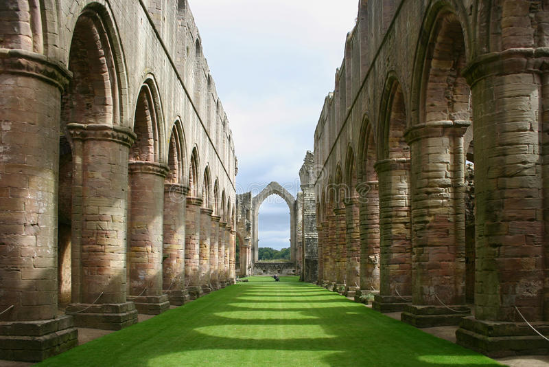 фонтаны yorkshire Англии аббатства стоковое изображение rf