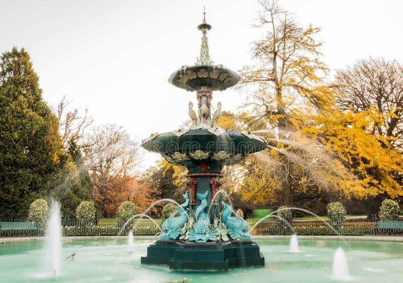 Фонтан, большой, ботанический сад, Крайстчёрч стоковое изображение rf
