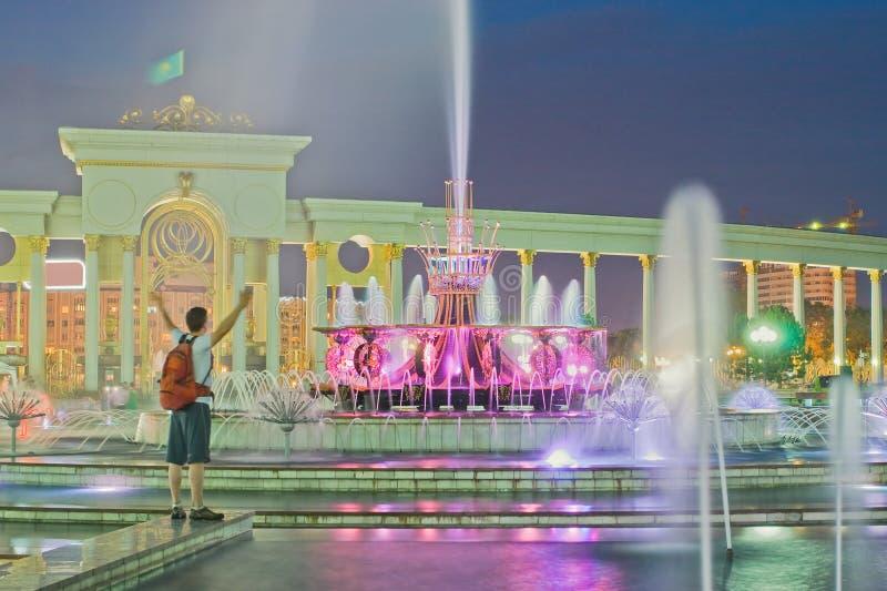 Фонтан в национальном парке Казахстан, Almaty стоковое изображение rf