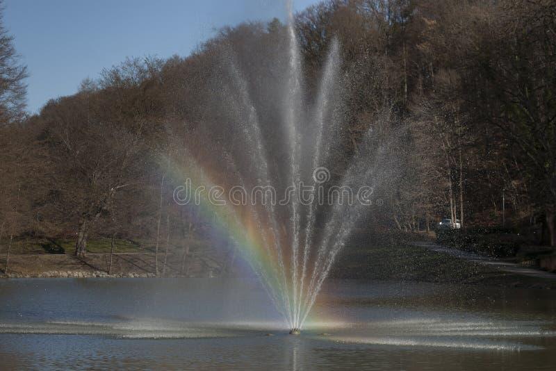 Фонтан в пруде стоковое фото rf